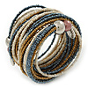 Multistrand White/ Bronze/ Hematite Glass Bead Wrap Flex Bracelet - 19cm L