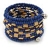 Blue Glass/ Gold Acrylic Bead Coiled Bracelet - Adjustable