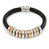 Black Leather with Silver/ Gold /Rose Gold Metal Rings Magnetic Bracelet - 19cm L