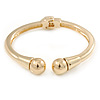 Gold Plated Double Ball Hinged Bangle Bracelet - 19cm L