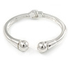 Silver Plated Double Ball Hinged Bangle Bracelet - 19cm L