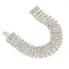 5 Row Bridal/ Wedding/ Prom Clear Austrian Crystal Bracelet In Silver Tone with Tonque Clasp - 19cm L
