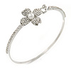 Delicate Clear Crystal, Pearl Flower Thin Bangle Bracelet In Silver Tone - 19cm