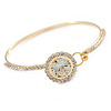Delicate Clear Crystal, CZ Round Cut Stone Thin Bangle Bracelet In Gold Tone - 19cm