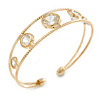 Delicate Open Cut CZ Etched Cuff Bangle Bracelet In Gold Tone - 16cm L - Adjustable