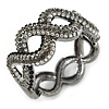 Black/ Grey/ Clear Crystal Plaited Hinged Bangle Bracelet In Black Tone - 19cm L