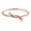 Rose Gold Clear Crystal Calla Lily Bangle Bracelet - 19cm L