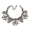 Vintage Inspired Elephant and Heart Charm Chunky Chain Bracelet In Silver Tone - 17cm L/ 5cm Ext