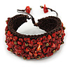 Handmade Coral Nugget Brown Cotton Cord Cuff Bracelet - Adjustable