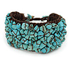 Handmade Turquoise Nugget Brown Cotton Cuff Bracelet - Adjustable