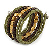 Olive Green, Gold Acrylic Wood Bead Multistrand Coiled Flex Bracelet - Adjustable
