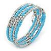 Light Blue Glass Bead, Silver Acrylic Bead Multistrand Coiled Flex Bracelet - Adjustable
