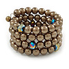 Bronze Brown Glass Bead Coiled Flex Bracelet - Adjustable