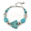 Silver Tone Bead, Turquoise Style Stone Butterfly Bracelet - 16cm L/ 5cm Ext