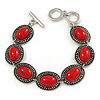 Vintage Inspired Coral Red Oval Ceramic Stone Etched Bracelet With Toggle Clasp -18cm L