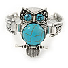 Silver Tone Turquoise Stone Owl Bracelet - 18cm L