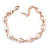 Delicate Classic White Simulated Glass Pearl Oval Link Rose Gold Tone Metal Bracelet - 15cm L/ 3cm Ext (For Small Wrist)