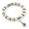 10mm Freshwater Pearl With Eiffel Tower Charm and Silver Tone Metal Rings Stretch Bracelet - 18cm L