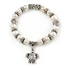 10mm Freshwater Pearl With Turtle Charm and Silver Tone Metal Rings Stretch Bracelet - 18cm L