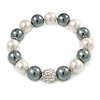 12mm White/ Grey Polished Glass Bead with Clear Crystal Ball Flex Bracelet - 17cm L