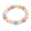 12mm Pastel Shades Polished Glass Bead with Clear Crystal Ball Flex Bracelet - 17cm L