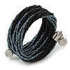 Teen/ Children/ Kids Black/ Grey Glass Bead Multistrand Bracelet - 15cm L