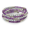 Purple Glass Silver Acrylic Bead Multistrand Coiled Flex Bracelet Bangle - Adjustable