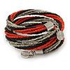 Teen/ Children/ Kids Black/ Transparent/ Orange Glass Bead Multistrand Bracelet - 15cm L