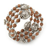 Mink Coloured Ceramic Bead with Silver Tone Wire Ball Multistrand Flex Bracelet - Medium