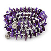 Purple Shell Nugget, Silver Tone Ball Bead Multistrand Flex Bracelet - Medium