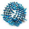Sky Blue Shell Nugget, Silver Tone Ball Bead Multistrand Flex Bracelet - Medium