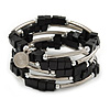 Black Cube Wood Bead and Silver Tone Metal Bar Multistrand Flex Bracelet