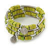 Lime Green Cube Wood Bead and Silver Tone Metal Bar Multistrand Flex Bracelet