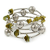 Olive Shell Nugget, Mirrored Ball Bead Multistrand Flex Bracelet - Medium