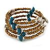 Bronze Glass Bead Teal/ Antique White Shell Nugget Multistrand Coiled Flex Bracelet - Adjustable
