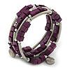 Deep Purple Cube Wood Bead and Silver Tone Metal Bar Multistrand Flex Bracelet