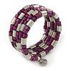 Deep Purple Wood Bead and Silver Tone Metal Bar Multistrand Flex Bracelet