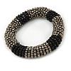 Black/ Grey Glass Bead Roll Stretch Bracelet - Adjustable