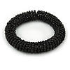 Black Glass Bead Roll Stretch Bracelet - Adjustable