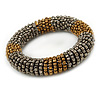 Bronze/ Grey Glass Bead Roll Stretch Bracelet - Adjustable