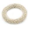 White Glass Bead Roll Stretch Bracelet - Adjustable