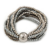 Multistrand Glass and Plastic Bead Flex Bracelet with a Ball (Silver/ Grey/ Hematite) - 18cm L