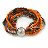 Multistrand Glass and Plastic Bead Flex Bracelet with a Ball (Orange/ Silver/ Peacock) - 18cm L