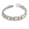 Plated Alloy Metal Ladies Magnetic Bracelet with Gold Tone Oval Motif - 18cm L (Medium)