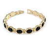 Plated Alloy Metal Black Oval Cut Resin Stones Ladies Magnetic Bracelet - 16cm L (Small)