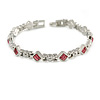 Plated Alloy Metal Pink Crystal Stones with Bow Motif Ladies Magnetic Bracelet - 18cm Long