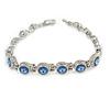 Plated Alloy Metal Light Blue Round Cut Crystal Stones Ladies Magnetic Bracelet - 18cm Long