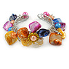 Multicoloured Sea Shell, Faux Pearl Bead Floral Cuff Bracelet In Silver Tone - Adjustable
