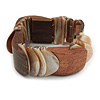 Unique Natural Sea Shell And Brown Wood Stretch Bracelet - 18cm L