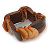 Unique Orange Sea Shell And Brown Wood Stretch Bracelet - up to 19cm L